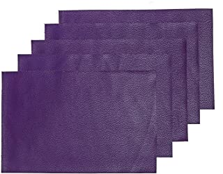 MeCan Faux Leather Fabric Sheet Solid PU Synthetic Leather(5pcs, 9