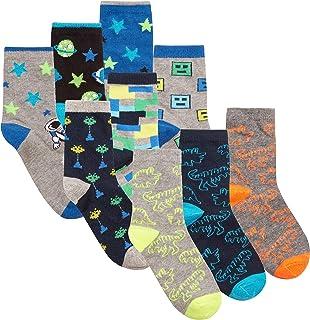 Calcetines de algodón para niños (paquete de 9 y 18 pares) con motivos de dinosaurios, espacio, monstruos, calaveras, fútbol