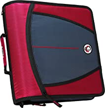 Case-it Mighty Zip Tab 3-Inch Zipper Binder, Red, D-146-RED