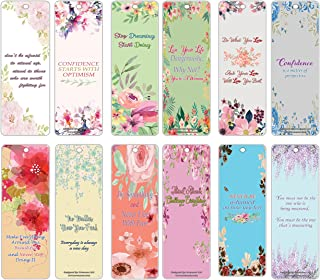 Creanoso Inspirational Sayings Quotes Bookmarks (60-Pack) - Flower Themed Bookmarker Cards - Assorted Set of Inspiring and Motivational Wall Decal Art Sayings for Women, Teens, Friends