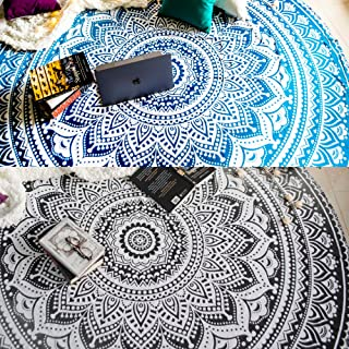 Set of 2 Ombre Mandala Round Tapestry Hippie Indian Mandala Roundie Picnic Table Cover Hippy Spread Boho Gypsy Cotton Tabl...
