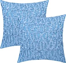 The White Petals Light Blue Throw Pillow Covers (Ribbon Work, 18x18 inch, Pack of 2)