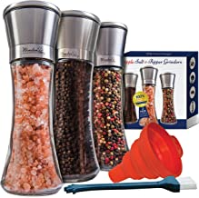 Salt and Pepper Grinder Set of 3 - Tall Salt and Pepper Shakers with Adjustable Coarseness by Ceramic Rotor - Stainless Steel Pepper Mill Shaker and Salt Grinders Mills Set with FREE Cleaning Brush