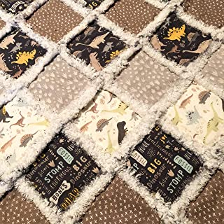 Large toddler bed sized boy rag quilt khaki and creams and dinosaurs galore