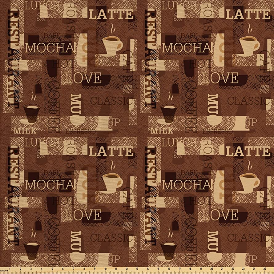 Ambesonne Coffee Fabric by The Yard, Cafeteria Pattern with Hot Mocha Latte Milk Love Typography on Scribble Backdrop, Decorative Fabric for Upholstery and Home Accents, 3 Yards, Brown Beige