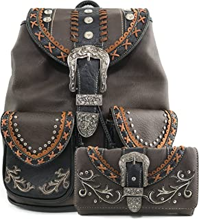 Trendy Western Rhinestone Leather Conceal Carry Top Handle Backpack Purse