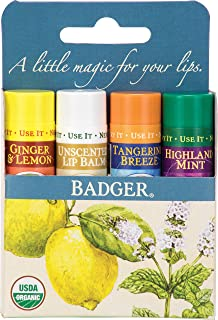 Badger Assorted Classic Lip Balm Blue Box - 4 Pack