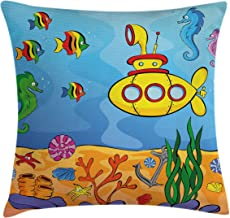 Ambesonne Yellow Submarine Throw Pillow Cushion Cover, Underwater Theme with Submarine Seahorse Starfish and Fish Print, Decorative Square Accent Pillow Case, 18 X 18, Marigold Aqua