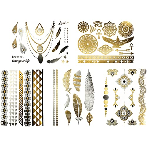 76f2315629da5 Metallic Tribal Jewelry Temporary Tattoos - Over 50 Designs in Gold Silver  and Black (6