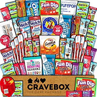 CraveBox Care Package (50 Count) Snacks Food Cookies Chocolate Bar Chips Candy Ultimate Variety Gift Box Pack Assortment Basket Bundle Mix Bulk Sampler Treat College Students Final Exam Office Easter