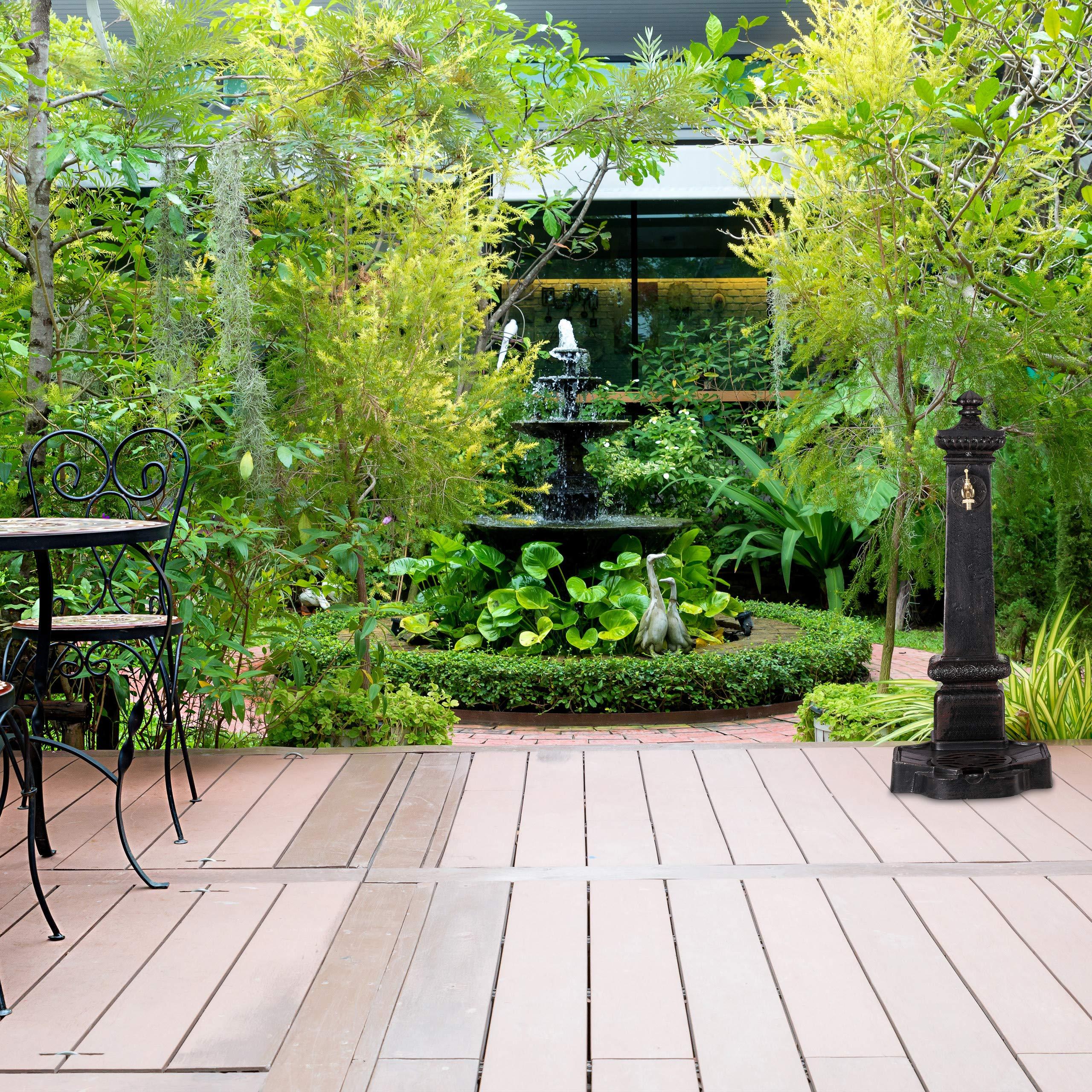 Relaxdays, Marrón Oscuro, Fuente Jardín XXL Vintage de Pie con Grifo, Aluminio Fundido, 100 x 38 x 47 cm: Amazon.es: Jardín