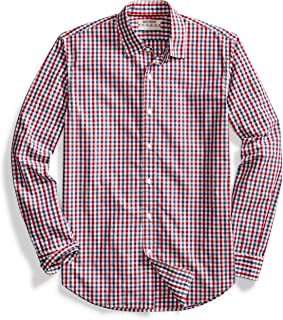 Men's Standard-Fit Long-Sleeve Gingham Plaid Poplin Shirt