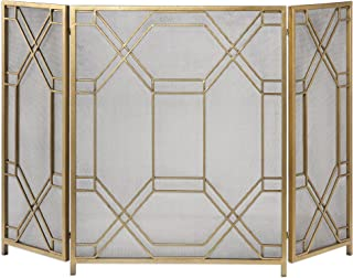 Mid Century Modern Geometric Fretwork Fireplace Screen | Firescreen Gold Retro