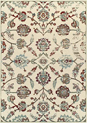 Superior 6mm Pile Height with Jute Backing, Durable, Fashionable and Easy Maintenance, Brookshire Collection Area Rug, 5' x 8' - Ivory