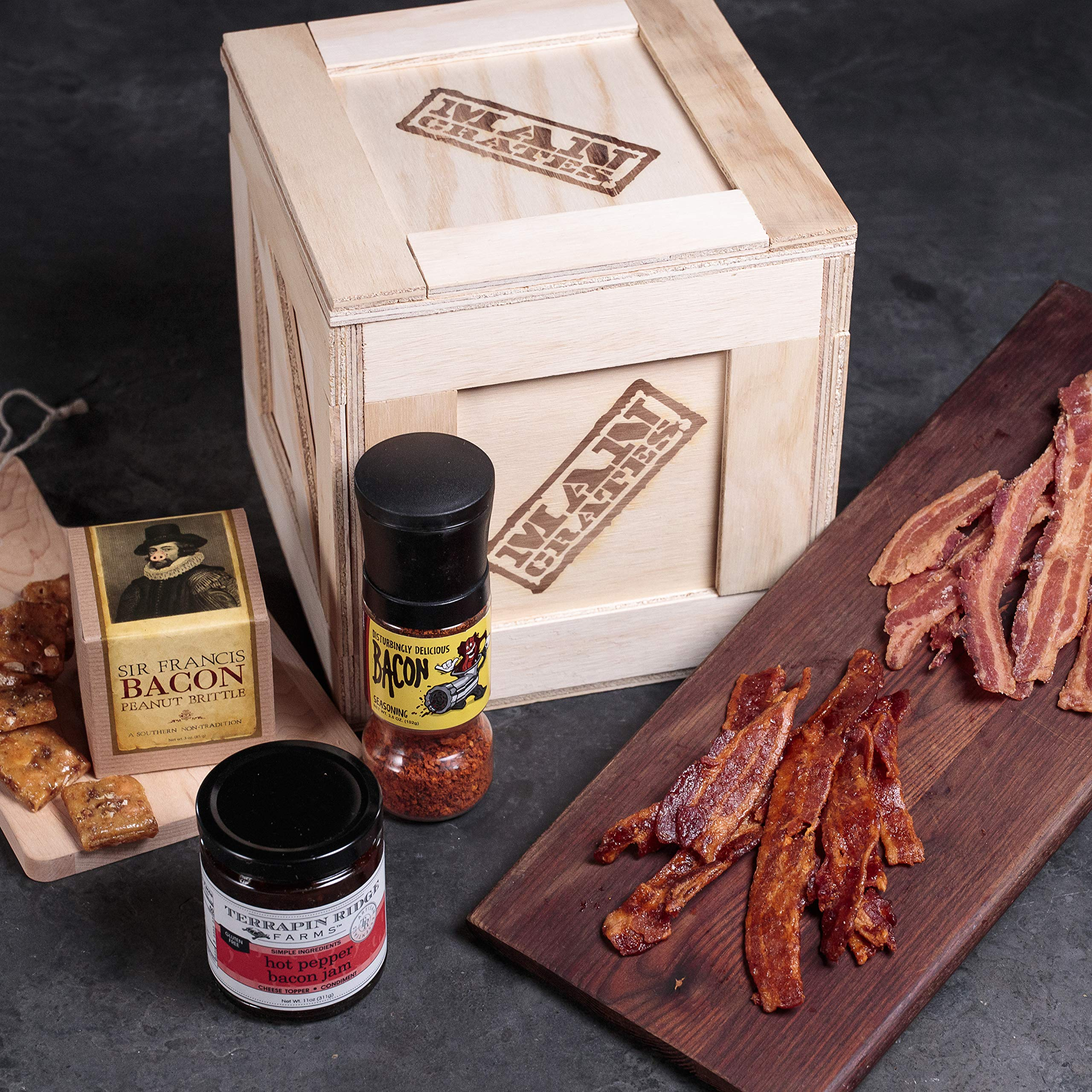 Bacon Crate – Includes 5 Awesome Bacon-Flavored Snacks Like Maple Bacon Jerky, Bacon Seasoning and More – Great Gifts for Men