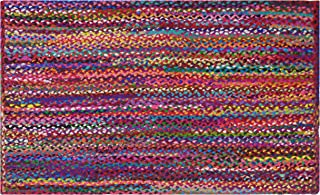Cotton Craft - 2x3 Feet Rectangular Rag Rug - Multi Chindi Braid Rug, Hand Woven & Reversible - Handwoven from Multi-Color Vibrant Fabric Rags