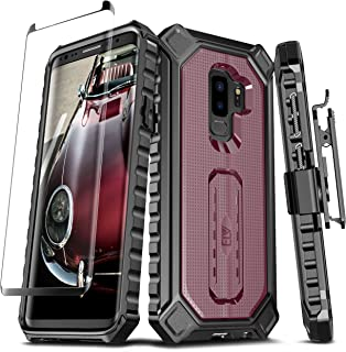 E LV Croco Series for Samsung Galaxy S9 Plus Holster Belt Clip Rugged Case - Curved Glass Screen Protector and Kickstand for Samsung Galaxy S9 Plus (Burgundy)