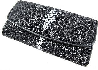 PELGIO Genuine Row Diamond Stingray Skin Leather Women`s Trifold Clutch Wallet Black