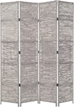 MyGift 4-Panel Woven Seagrass Room Divider, Folding Privacy Screen with Wood Frame, Gray