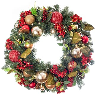[30 Inch Artificial Christmas Wreath] - Scarlet Hydrangea Collection - Red and Gold Decoration - Pre Lit with 50 Warm Clear Colored LED Mini Lights - Includes Remote Controlled Battery Pack with Timer