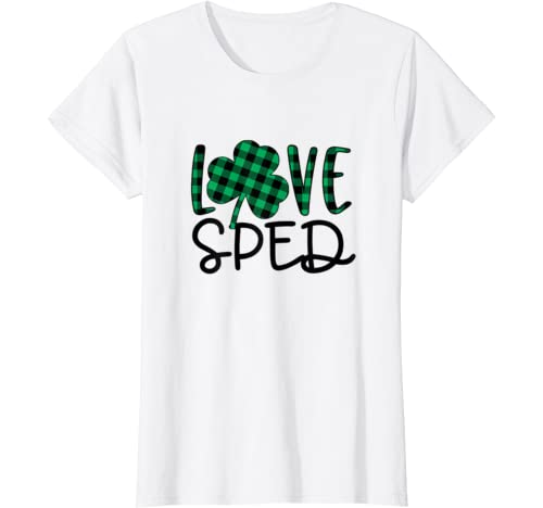 St Patricks Day Cute Gift For Sped Teacher Plaid Shamrock T Shirt