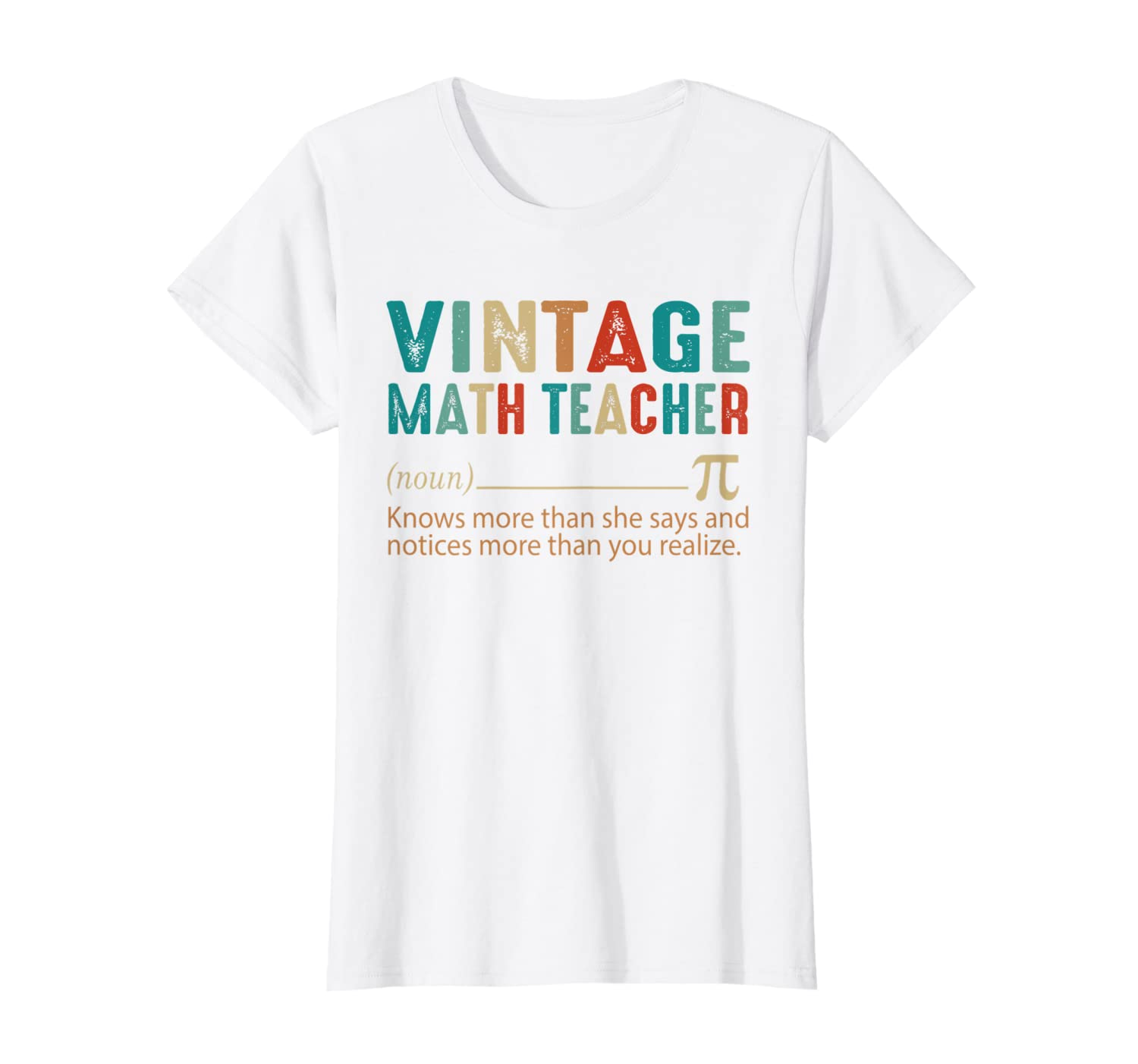 Womens Math Teacher Women Vintage Style 60s 70s 80s Saying Gift T-Shirt