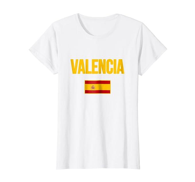 Amazon.com: Valencia España playera Tee de bandera de España ...