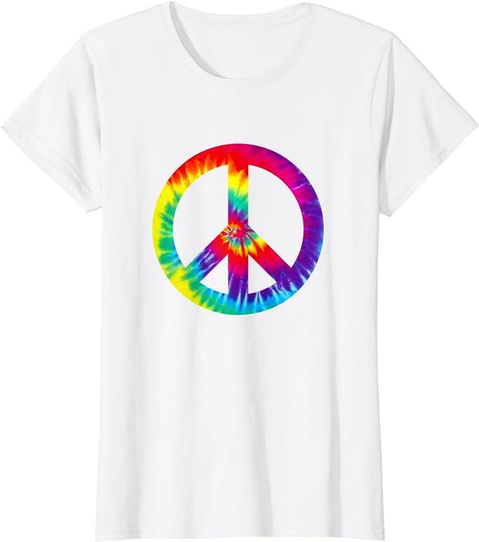 Peace Love Hippie Kost/üm Tie Dye 60er 70er Jahre T-Shirt