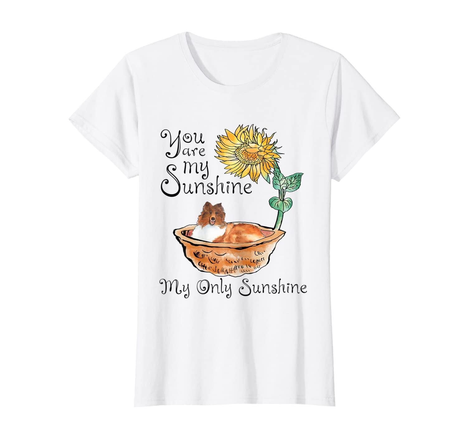 You Are My Sunshine Scotch Collie T Shirt, Sunflower And Sco