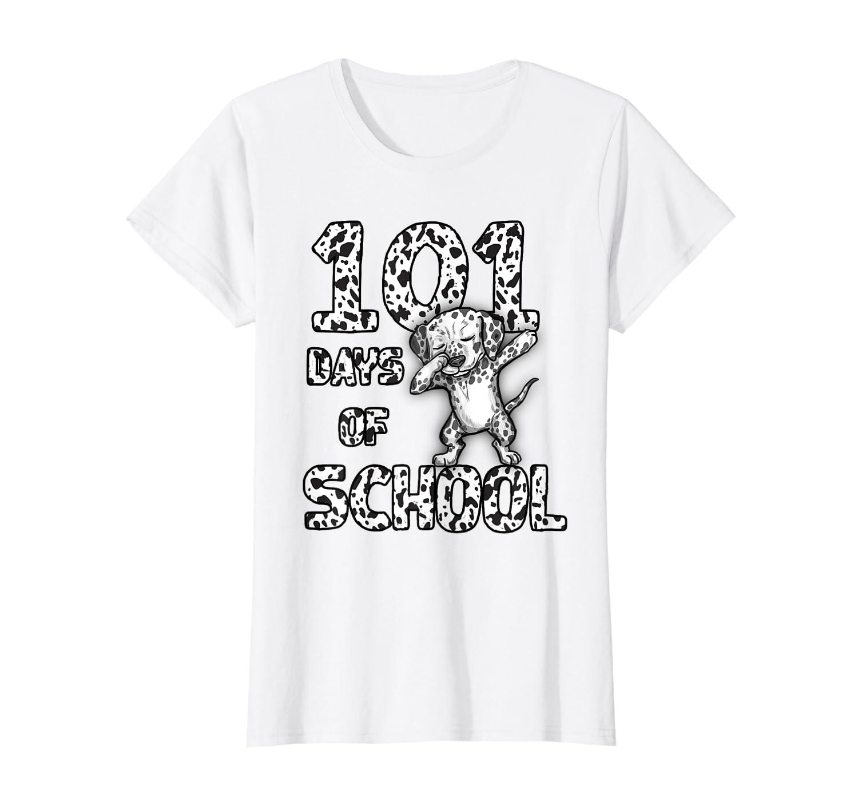 Funny 101 Days School Dabbing Dalmatian Dog 100 days Teacher T-Shirt