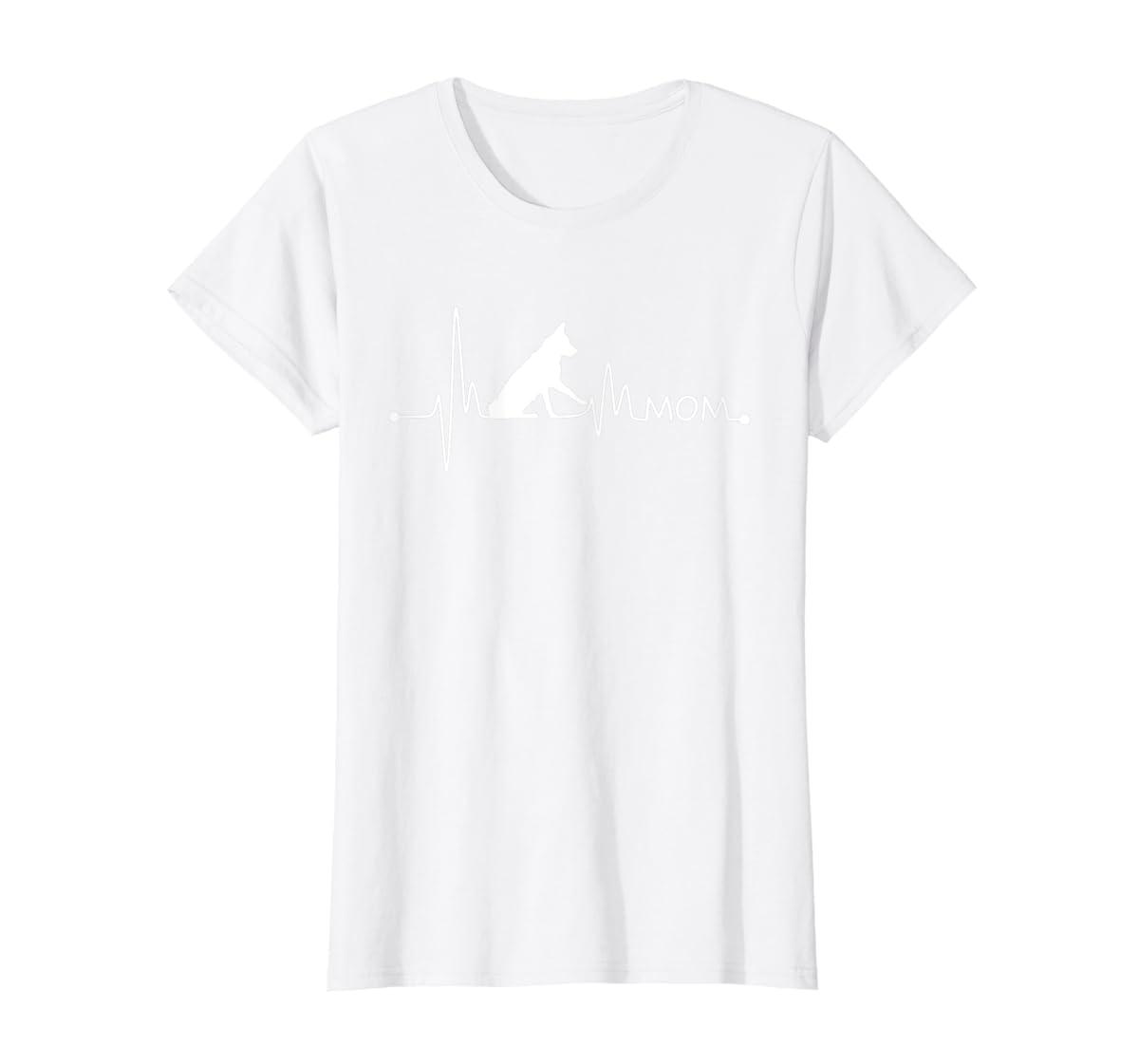 Womens Border Collie Heartbeat Mom Shirt Ekg Pulse Collie Lover Tee-Women's T-Shirt-White