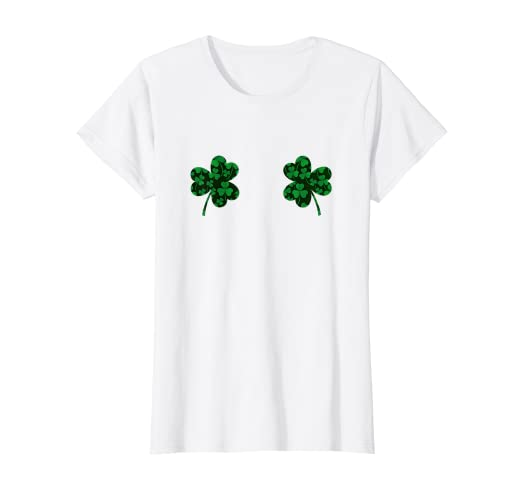639b69b1bc2e Image Unavailable. Image not available for. Color: Womens Shamrock Boobs Shirt  St Patricks Day Green Glitter ...