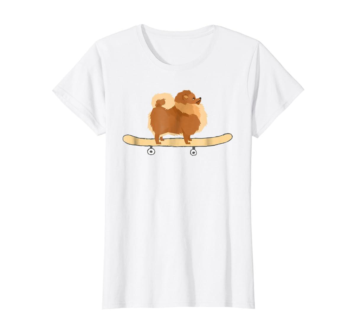 Funny Skateboarding Pomeranian Pom Puppy T-Shirt Gift-Women's T-Shirt-White