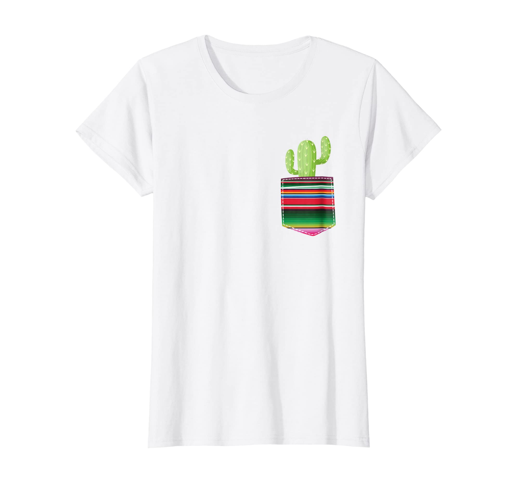 Cactus Blanket Pocket Serape Mexican Fiesta Party T Shirt-Teehay