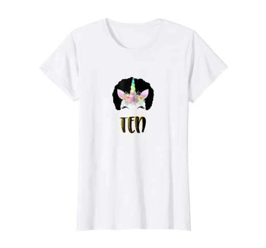 Image Unavailable Not Available For Color 10th Birthday T Shirt Afro Unicorn