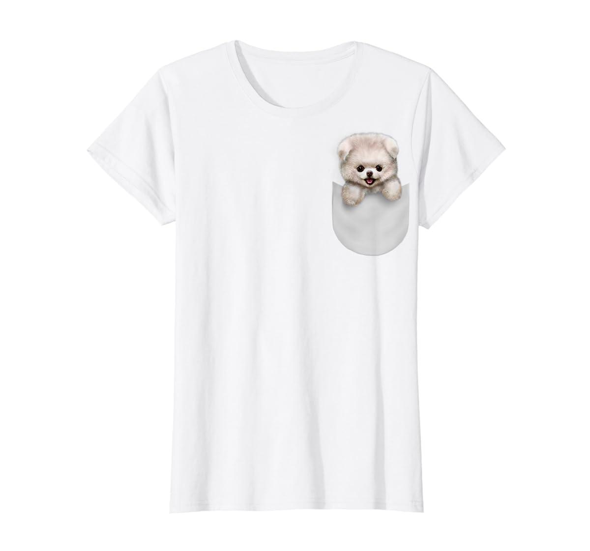 T-Shirt, Cute White Fluffy Pomeranian Puppy in Pocket, Dog-Women's T-Shirt-White