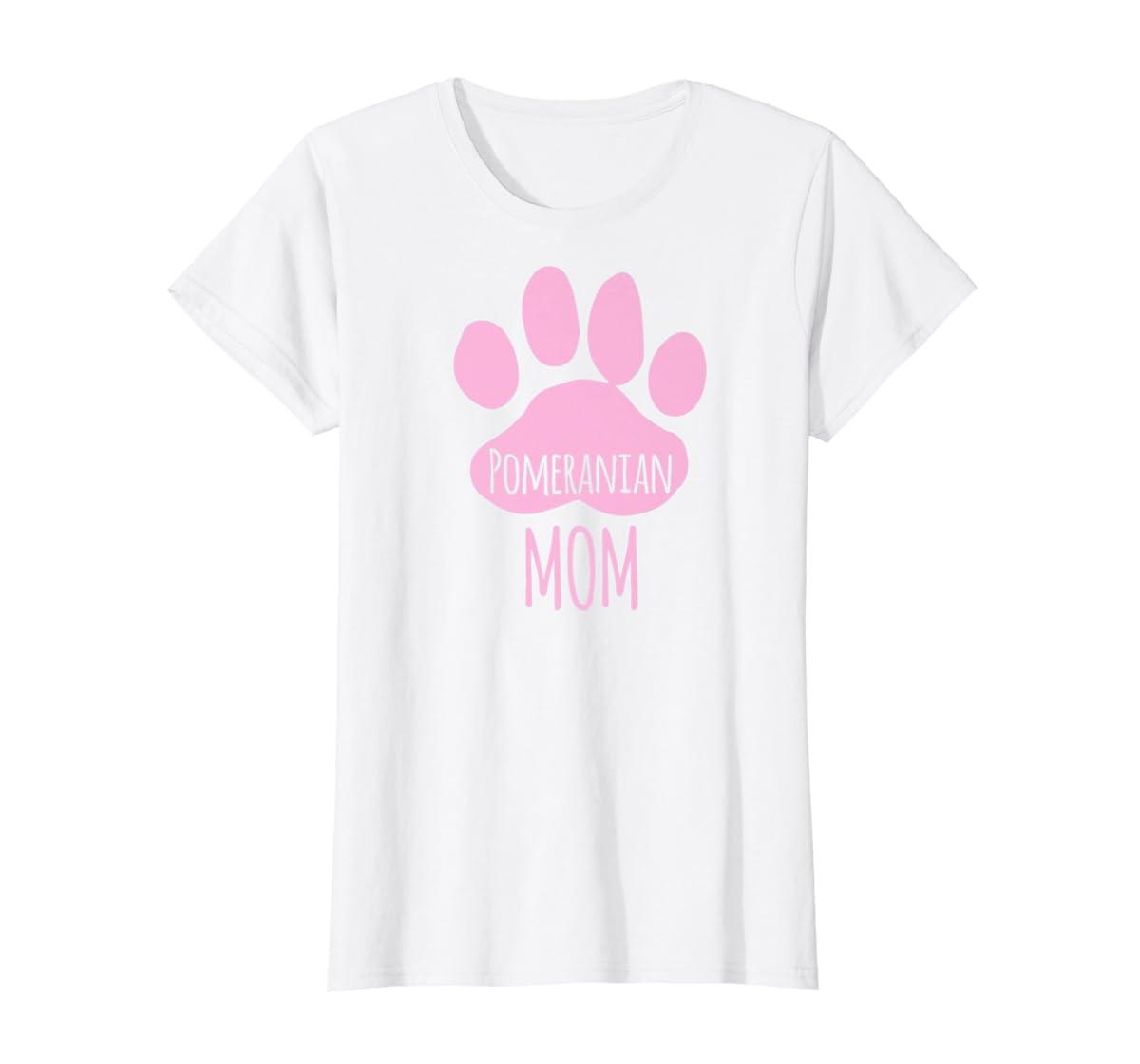 Cute Pomeranian Mom T Shirt for Pom Owner Dog Paw Pink-Women's T-Shirt-White