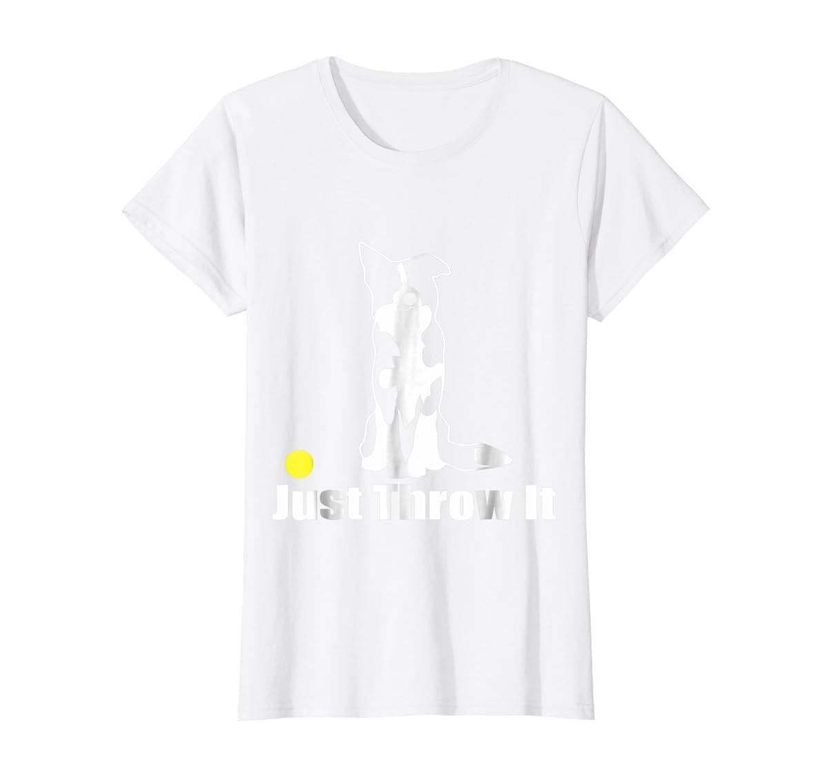JUST THROW IT | NickerStickers Border Collie T-Shirt-Women's T-Shirt-White