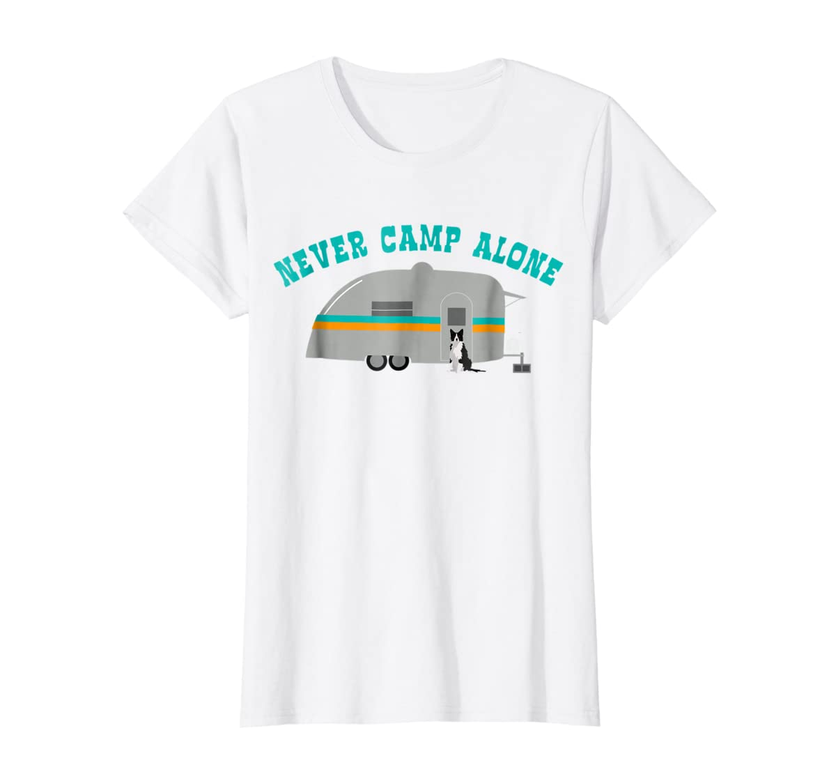 Border Collie Dog RV Shirt Funny Camping Travel Trailer-Women's T-Shirt-White