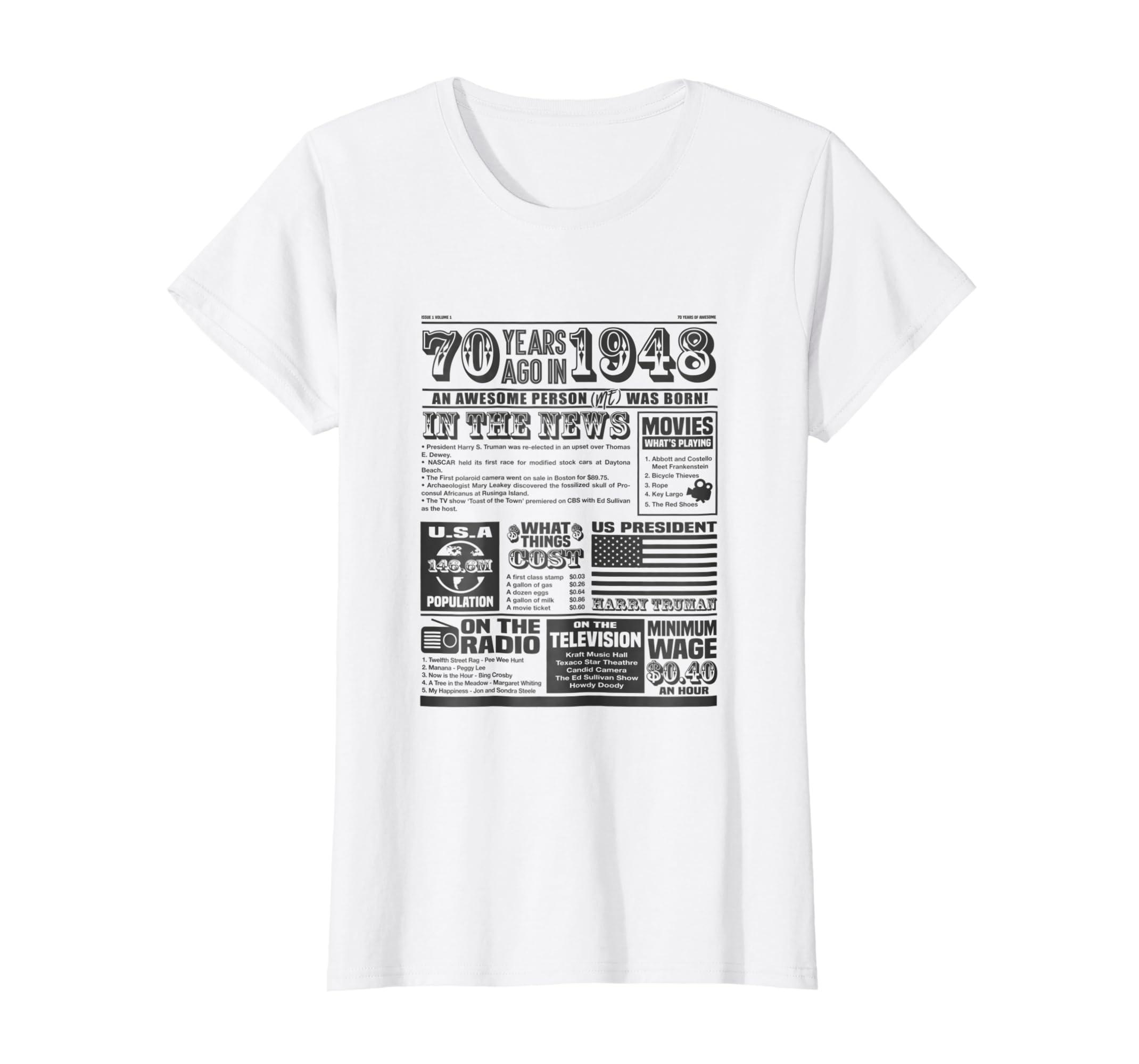 Amazon Back In 1948 Newspaper T Shirt 70th Birthday Custom Gift