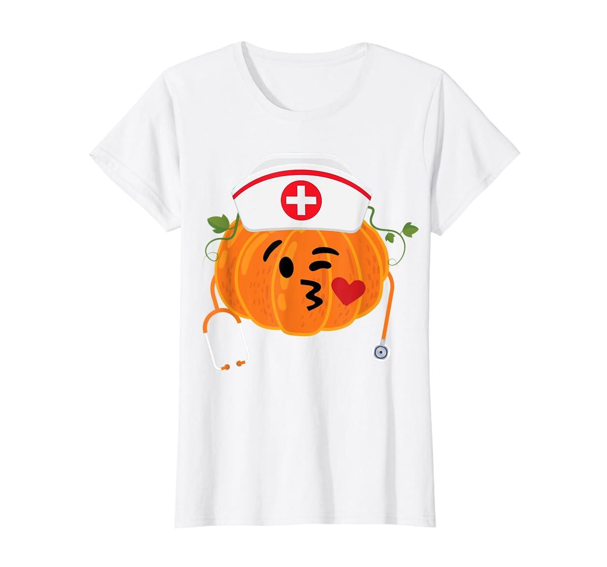 Nurse Stethoscope Pumpkin Funny Nursing Halloween Gift T-Shirt-Women's T-Shirt-White