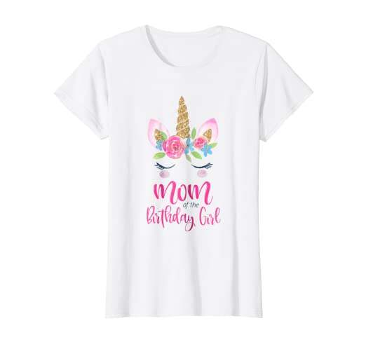 530c196b Image Unavailable. Image not available for. Color: Womens Unicorn Mom of  the Birthday Girl Shirt Matching Party Tee