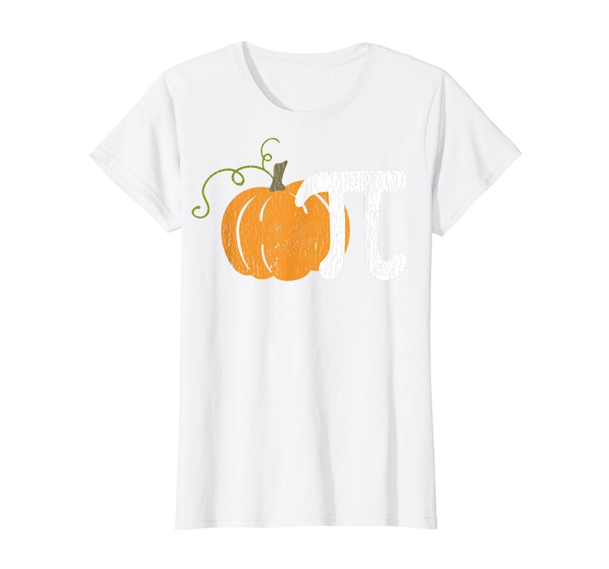 Funny Pumpkin Pie Math Teacher Halloween Pi Humor T-Shirt-Women's T-Shirt-White