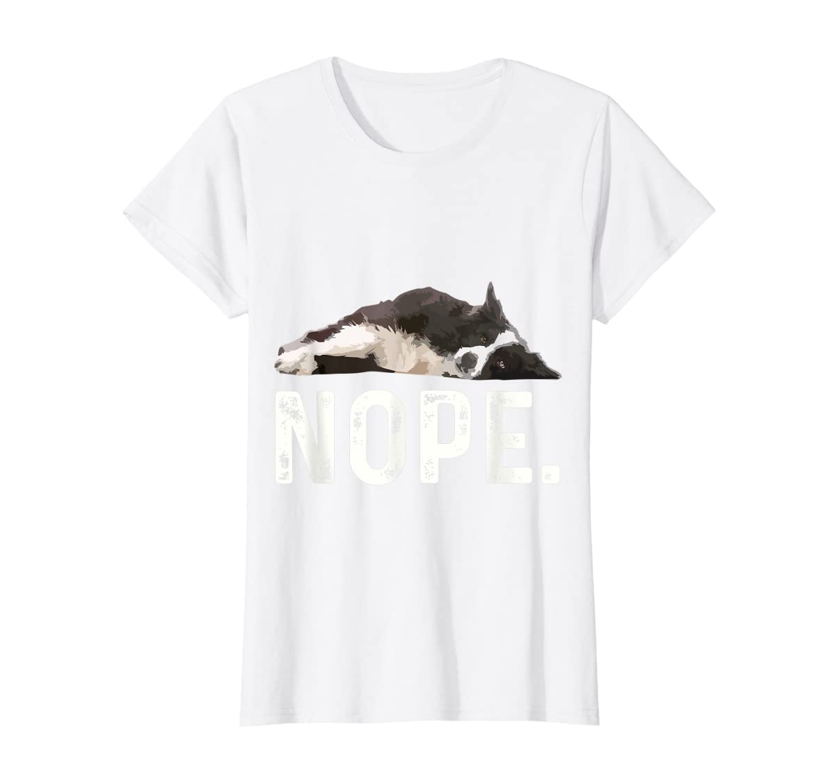 Nope Lazy Border Collie T-Shirt-Women's T-Shirt-White