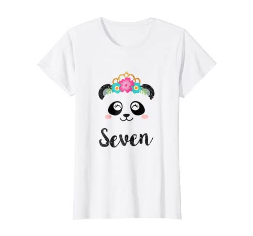 Panda Girl 7th Birthday Outfit Kids Seventh Shirt