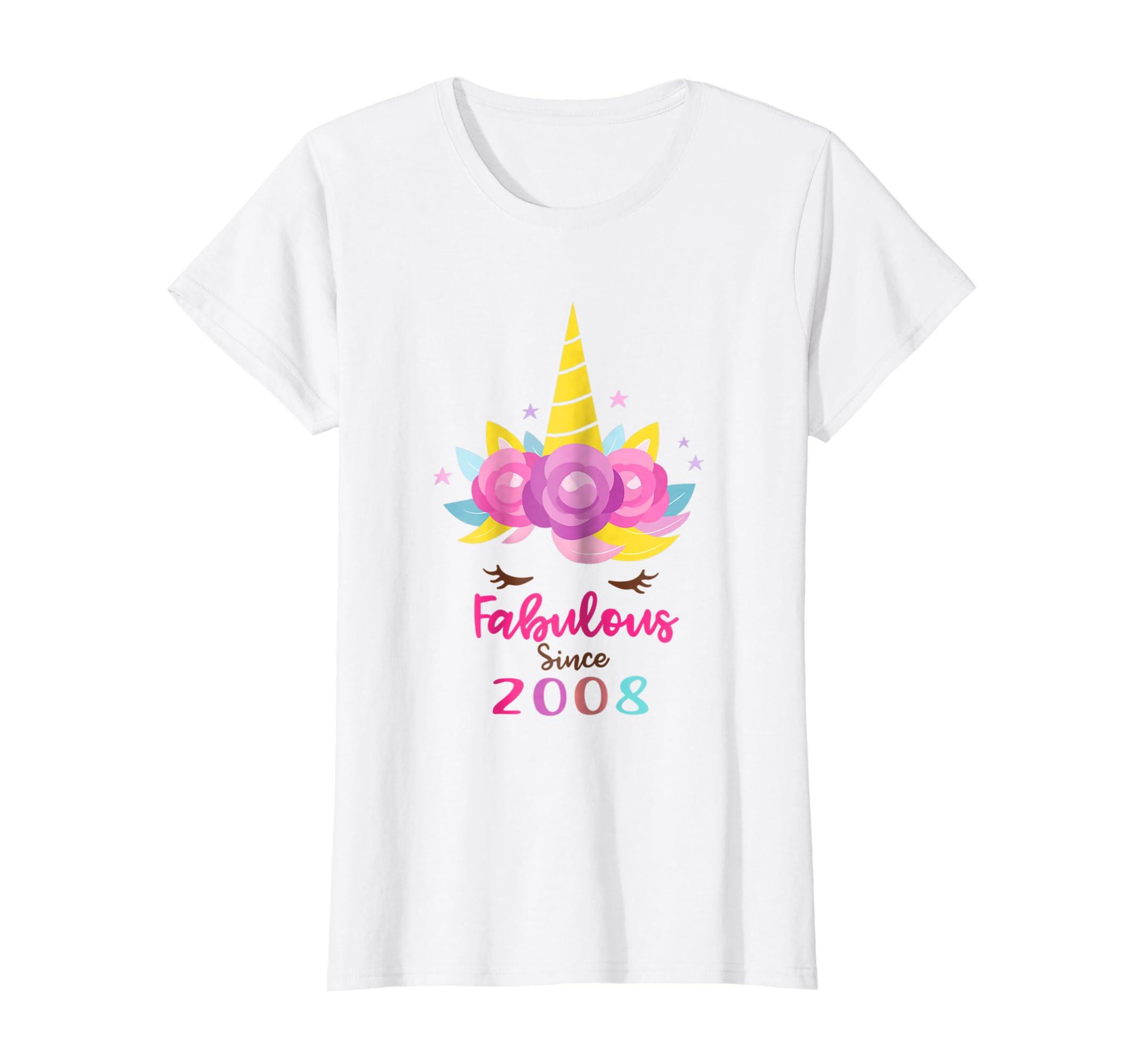 Amazon Unicorn Face Fabulous Since 2008 Birthday Shirt 10 Years Old Clothing