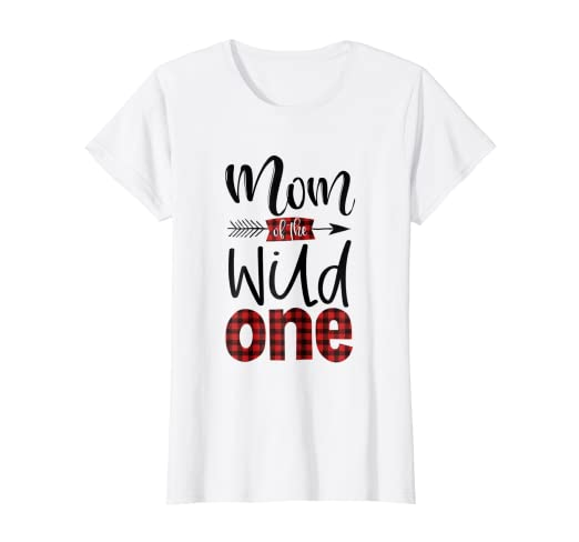 9b2592d41 Image Unavailable. Image not available for. Color: Womens Mom of the Wild  One Shirt Plaid Lumberjack 1st Birthday Tee