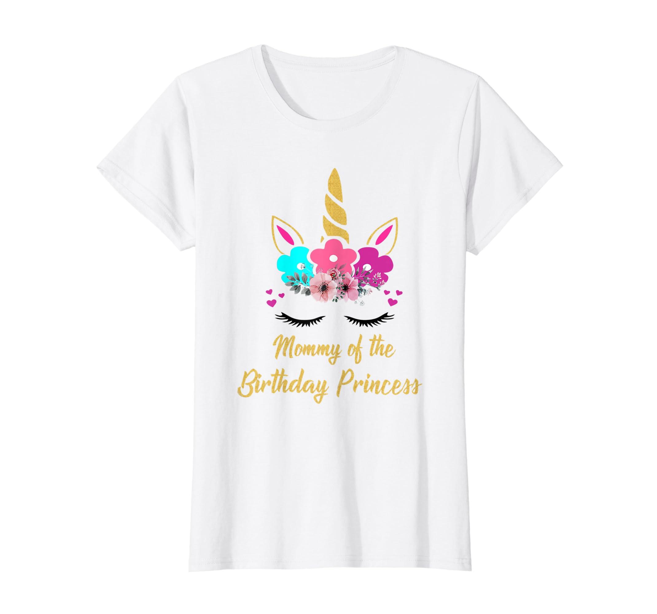 a68257d6 Amazon.com: Mommy Of The Birthday Princess Unicorn Girl Matching T Shirt:  Clothing