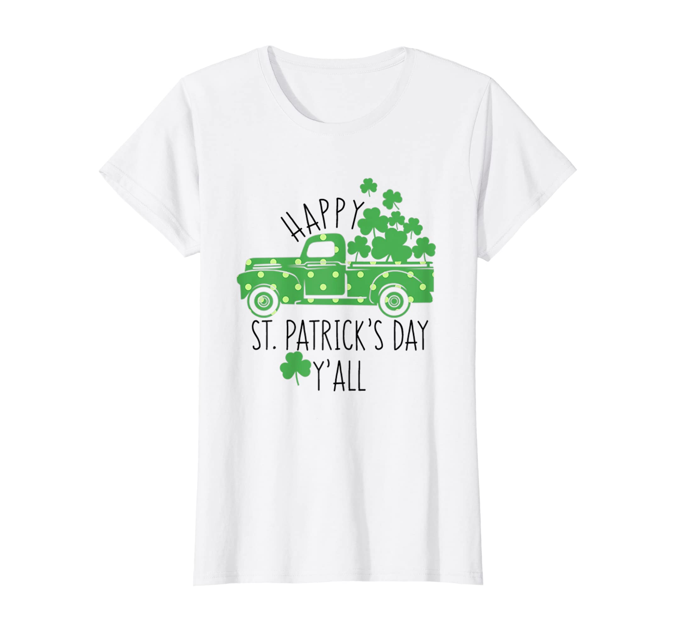 d66e8634 Wiseknight Womens Happy St Patricks Day Yall Vintage Truck Decor Shirt for  Mom