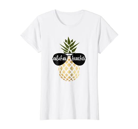 301ed1f71741 Amazon.com: Womens Aloha Beaches Pineapple Hawaiian Gold ...
